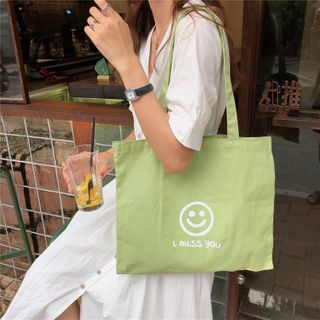 Milha - Smiley Face Canvas Tote Bag