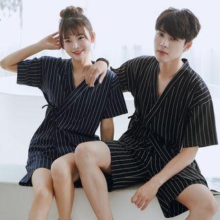 Endormi - Couple Matching Pajama Set: Striped Short-Sleeve Top + Shorts