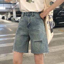 Genki Groove - 散口寬腿牛仔短褲