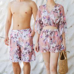 Salanghae - 情侶款碎花比基尼泳衣/罩衫/游泳短褲/套裝