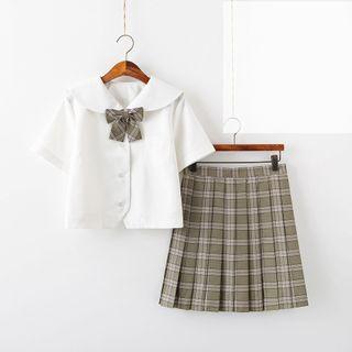Aiyiruo - Blouse / Plaid Mini Pleated Skirt / Bow Tie / Socks / Set