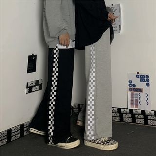 LINSI - 格子拼接宽腿裤