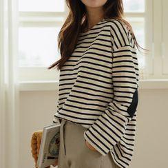 JUSTONE(ジャストワン) - Elbow-Patch Stripe T-Shirt