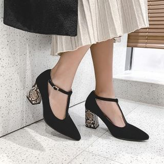 JY Shoes - Python Print Chunky-Heel Ankle Strap Pumps