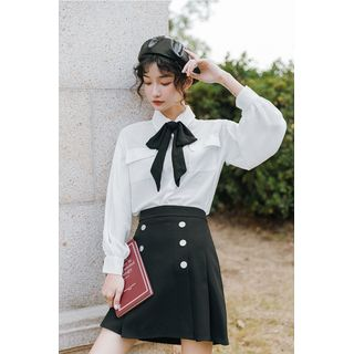 Akino - Long-Sleeve Bow Accent Shirt / Mini Pleated Skirt