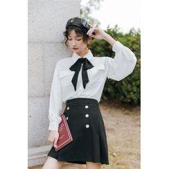 Akino - Long-Sleeve Bow Accent Shirt / Mini Pleated Skirt