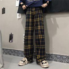 Dreamkura(ドリームクラ) - Plaid Wide-Leg Pants