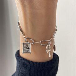 Penguin Lab - 皇冠锁及钥匙纯银手链