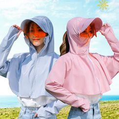 Kalamate - Set: Wide Brim Cap + Sun Protection Hooded Cape