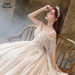 MSSBridal - Rhinestone Fringe Mesh Off-Shoulder Wedding Ball Gown