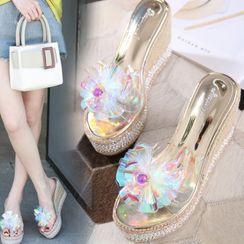 Anran - Platform Wedge Transparent Sandals