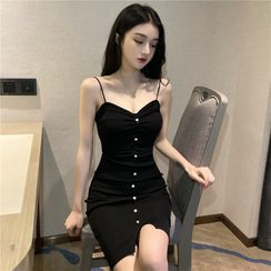 NENE - Spaghetti Strap Embellished Knit Bodycon Mini Dress
