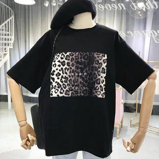 Chogen - Elbow-Sleeve Leopard Print T-Shirt