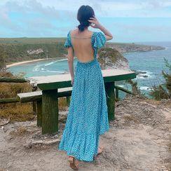 Morning Glory - Floral Print Open-Back Short-Sleeve Maxi Sundress