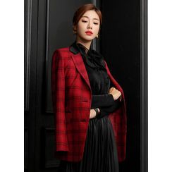 Styleonme - Contrast-Lapel Belted Plaid Jacket