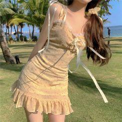 Flowerisque - Spaghetti Strap Floral Print Mini Dress