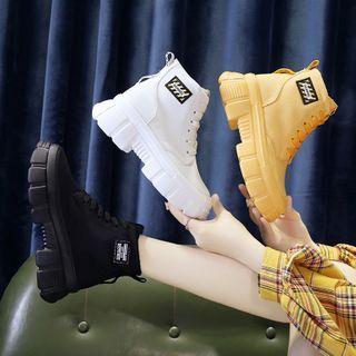 Sleeko(スリーコ) - Applique Canvas Platform Wedge Ankle Boots