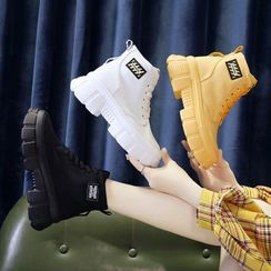 Sleeko - Applique Canvas Platform Wedge Ankle Boots