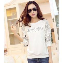 Hilsah - Long-Sleeve Star Print T-Shirt