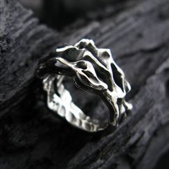 Sterlingworth - Engraved Irregular Sterling Silver Ring
