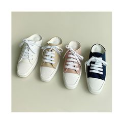 NANING9 - Square-Toe Backless Canvas Sneakers