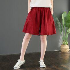 RAIN DEER(レインディーア) - Plain Semi Wide-Leg Shorts