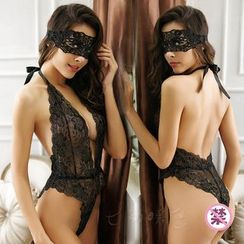 Colorful Days - Set: Deep Plunge Lace Teddy + Mask