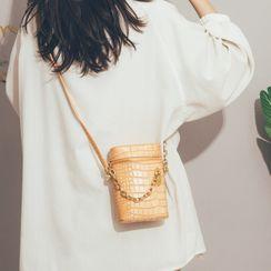 Felicity - Croc Grain Faux Leather Cylinder Bucket Bag