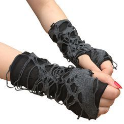 Planezza - Distressed Fingerless Gloves