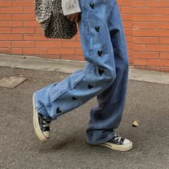 LINSI - Heart Print Straight-Leg Jeans