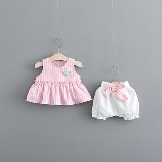 Hecto - Kids Set: Striped Sleeveless Top + Shorts