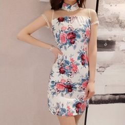 Elmiko - Traditional Chinese Short-Sleeve Mesh Paneled Floral Mini Sheath Dress