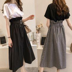 Einshine - Set: Short-Sleeve T-Shirt + Button Midi A-Line Skirt