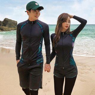 MALILA(マリラ) - Couple Matching Leaf Print Zip Rashguard / Swim Shorts / Swim Pants / Tankini Top / Swim Trunks / Set