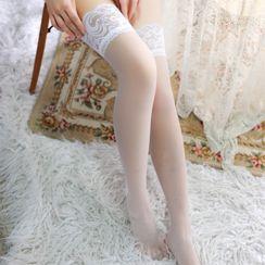 Huasha - Lace Trim Stockings