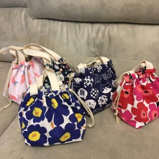 Libra - 印花抽绳帆布手提包