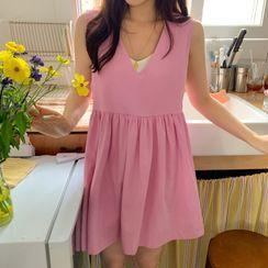 FROMBEGINNING - Sleeveless Mini Babydoll Dress