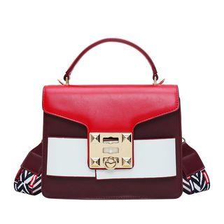 Genova - Faux-Leather Color-Block Flap Satchel