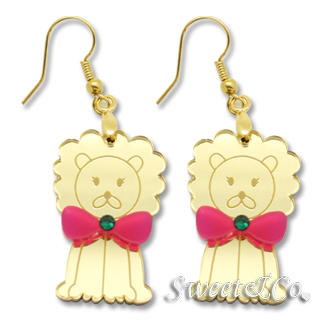 Sweet & Co. - 煲呔狮子施华洛水晶金镜面耳环