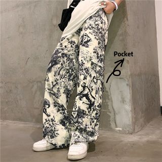 Banash - 印花直筒褲