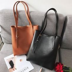 Churori  - Set: Faux Leather Tote Bag + Pouch