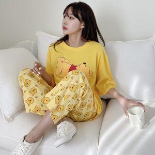 PPGIRL - Pajama Set: Pooh Print T-Shirt + Drawstring-Waist Pants