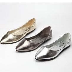 The Shoe House - Metallic Faux Leather Flats