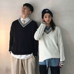 MIKAEL - Couple Matching V-Neck Striped Sweater