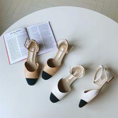 CHERRYKOKO - Toe-Cap Ankle-Strap Flats