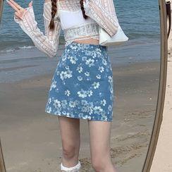 Closette - High-Waist Floral Print A-Line Mini Skirt