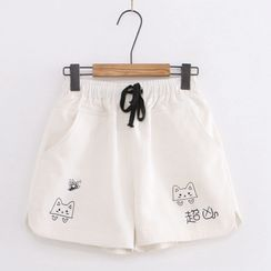 Cat Planet(キャットプラネット) - Cat Print Drawstring Shorts