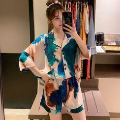 Endormi - Pajama Set: 3/4-Sleeve Tie-Dye Print Top + Shorts