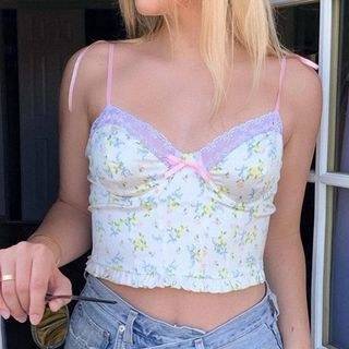 Puffie - Tie-Shoulder Lace-Trim Bow-Accent Floral Print Cropped Camisole Top
