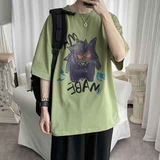 MIKAEL - Elbow-Sleeve Monster Print T-Shirt